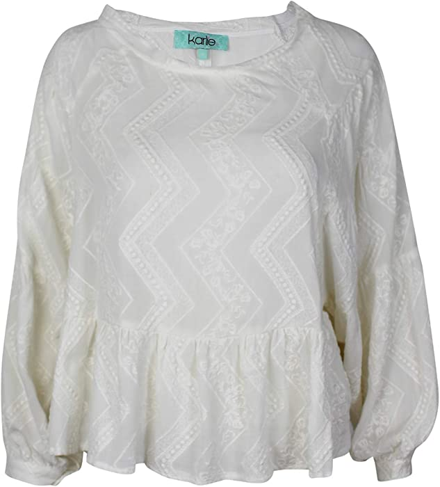 c21e72b5d71da6 Karlie Womens Embroidered Crop Peasant Top White Small at Amazon ...