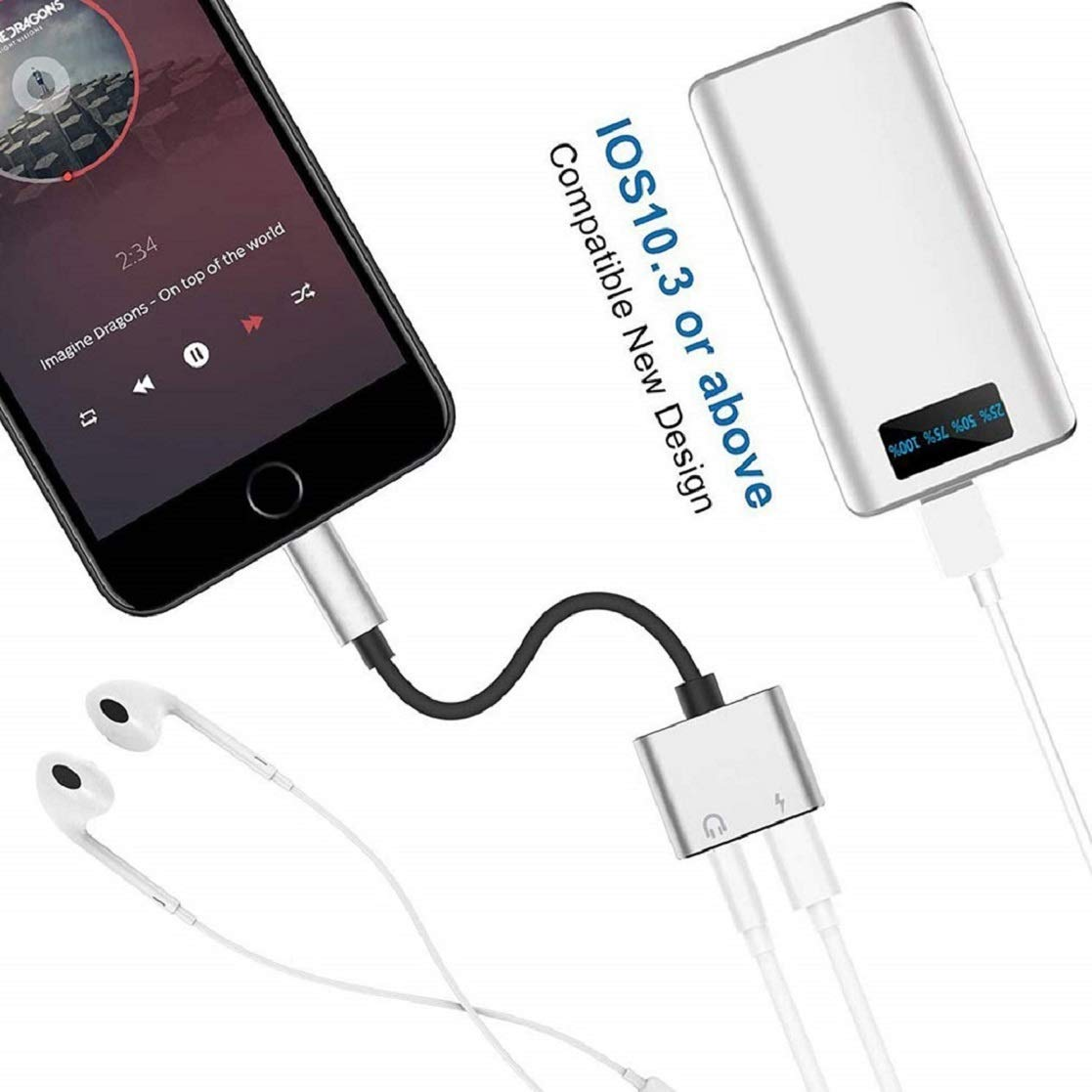 Headphone Adapter for iPhone X//XS//XS MAX//XR//8// 8Plus// 7//7 Plus Aux Headset Jack Dongle Splitter Adaptor Mini Earphone Convertor 2 in 1 Accessories Cables Call Charge Music Wire Control