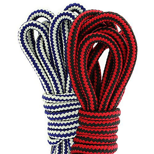 Stretchable Shoelaces (DailyShoes Round Hiking Boot Shoelaces Strong Durable Stylish Shoe Laces Wafture Demesne , (Great for Stretchable Shoelace) Black Red 36