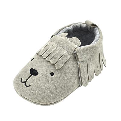 2018 Infantile Enfants Bébé Garçons Filles Nourrissons Ours Tassle Chaussures Dessin Animé Anti-Slip Tissu de Coton Impressions D'Animaux Simples Doux Sole Chaussures