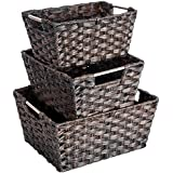 woven rattan baskets maidmax rectangular storage bins with metal handles for living room bedroom home office nursery set of 3 - Metal Storage Bins