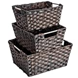 Baby : MaidMAX Nesting Rattan Storage Baskets with Dual Metal Handles, Assorted Sizes, Set of 3
