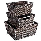 MaidMAX Nesting Rattan Storage Baskets Dual Metal Handles, Assorted Sizes, Set of 3