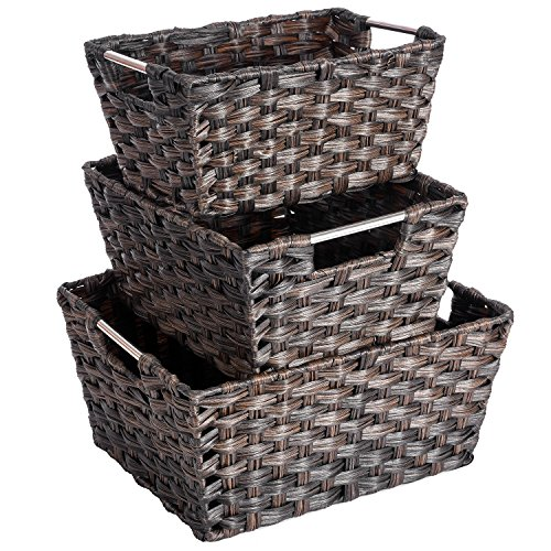 Woven Rattan Baskets, MaidMAX Rectangular Rattan-Looking Storage Bins with Metal Handles for Living Room Bedroom Home Office Nursery, Set of 3 (Basket Rattan)