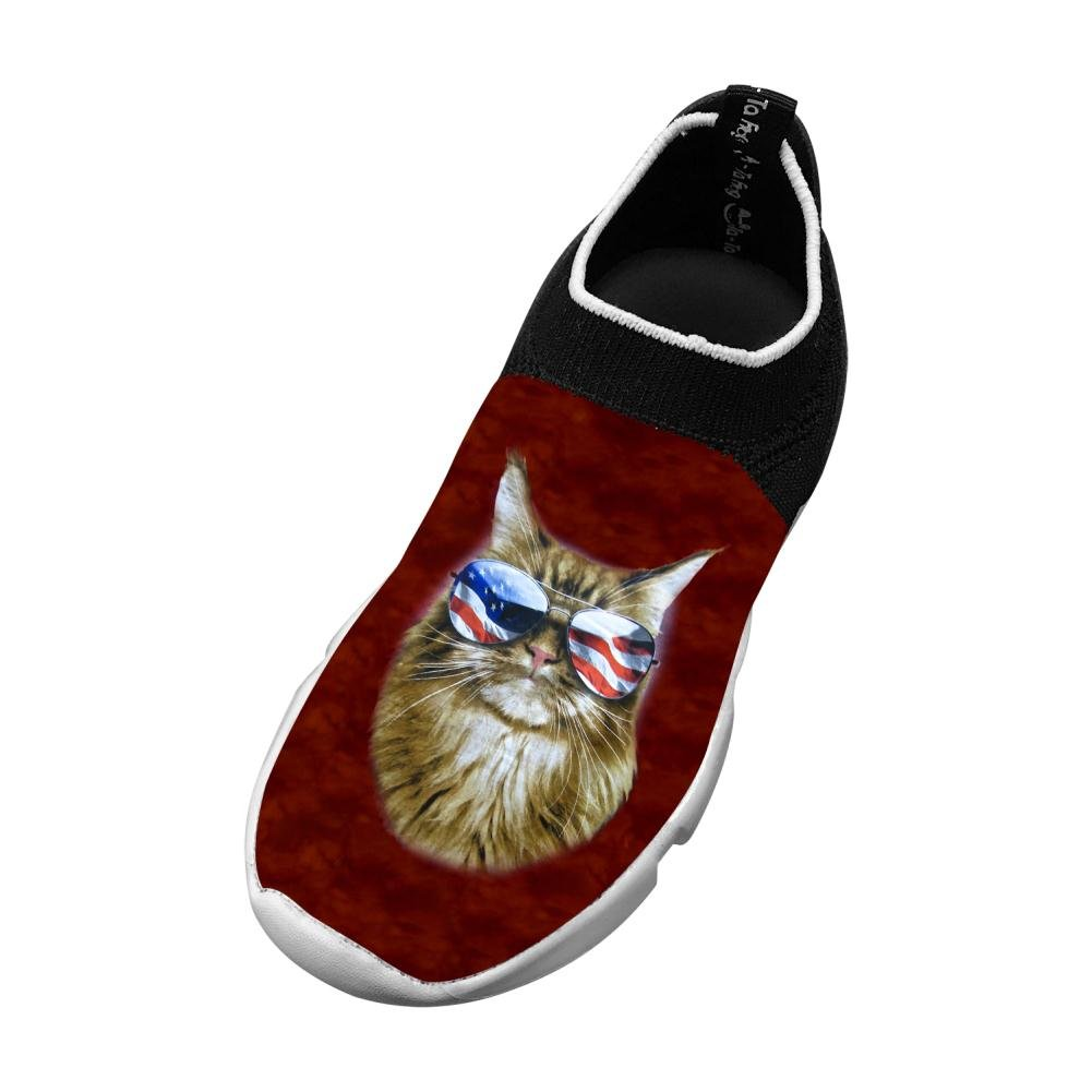 Sports Flywire Weaving Jogging Shoes For Unisex Child,Print Cat Usa Sunglass,4 B(M) Us Big Kid