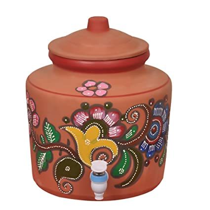 clay pot for water buy online Mitti Magic Brown Clay Kitchen Water Pot (2 L, Available in Random Prints  and Floral Colours)