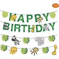 Cartoon Jungle Animals Happy Birthday Banner Paper Bunting Garland Set Forest Theme Birthday Festival Party Decoration