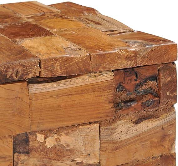 Teak Massiv Hocker Stauraum Fußhocker Sitzhocker Holzhocker Sitzwürfel