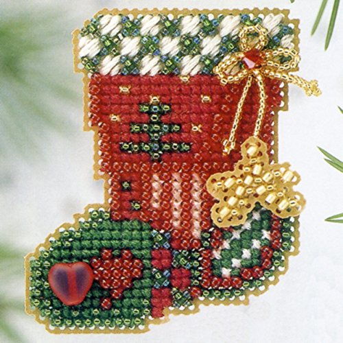 - Hearts & Star Stocking Beaded Counted Cross Stitch Ornament Kit Mill Hill 2003 Winter Holiday H113