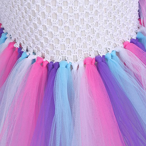 YiZYiF Girls Inspired Mythical Outfit Birthday Tutu Party Dress with Horn Hair Hoop Ballet Costumes Colorful with Train 5-6 by YiZYiF (Image #6)