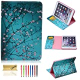 iPad Air Case - Dteck(TM) Colorful Painting Design PU Leather Flip Stand Case with [Cards Slots&Money Holder] Full Body Protective Smart Cover for Apple iPad Air iPad 5 (01 Pear Flower)