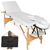 TecTake Mobile Massageliege 3 Zonen höhenverstellbar inkl. hochwertiger Kopfstütze + Tasche - diverse Farben - (Weiß | Nr. 401467)