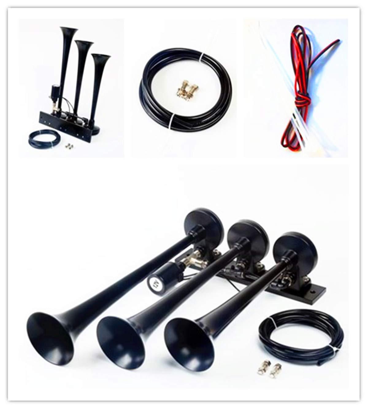 tres tubos negros para cualquier veh/ículo de 12 V 24 V cami/ón Lorrys barcos V/álvula de solenoide para bocina de aire con control electr/ónico furgonetas de coche