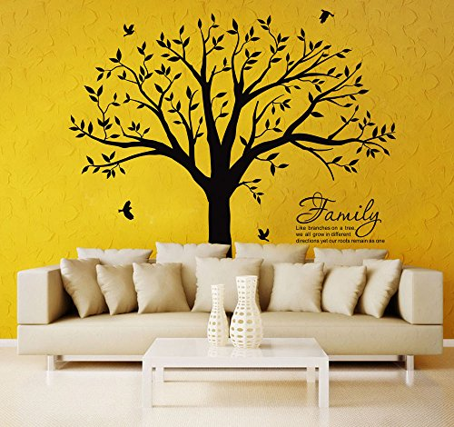 LSKOO Large Family Tree Wall Decal With Family Llike Branches on a Tree Wall Decals Wall Sticks Wall Decorations for Living Room (Black) by LSKOO (Image #2)