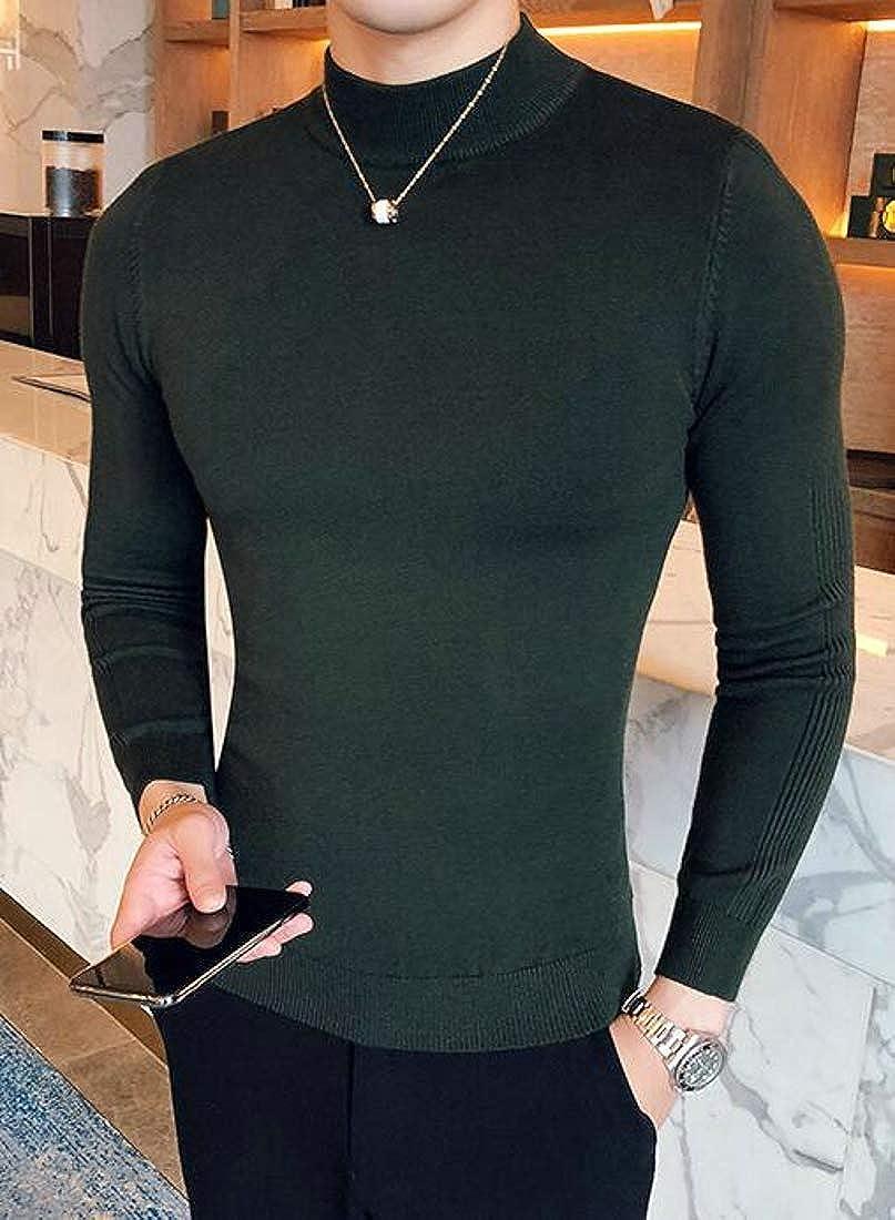Wofupowga Mens Pullover Top Slim Turtleneck Knit Jumper Sweater