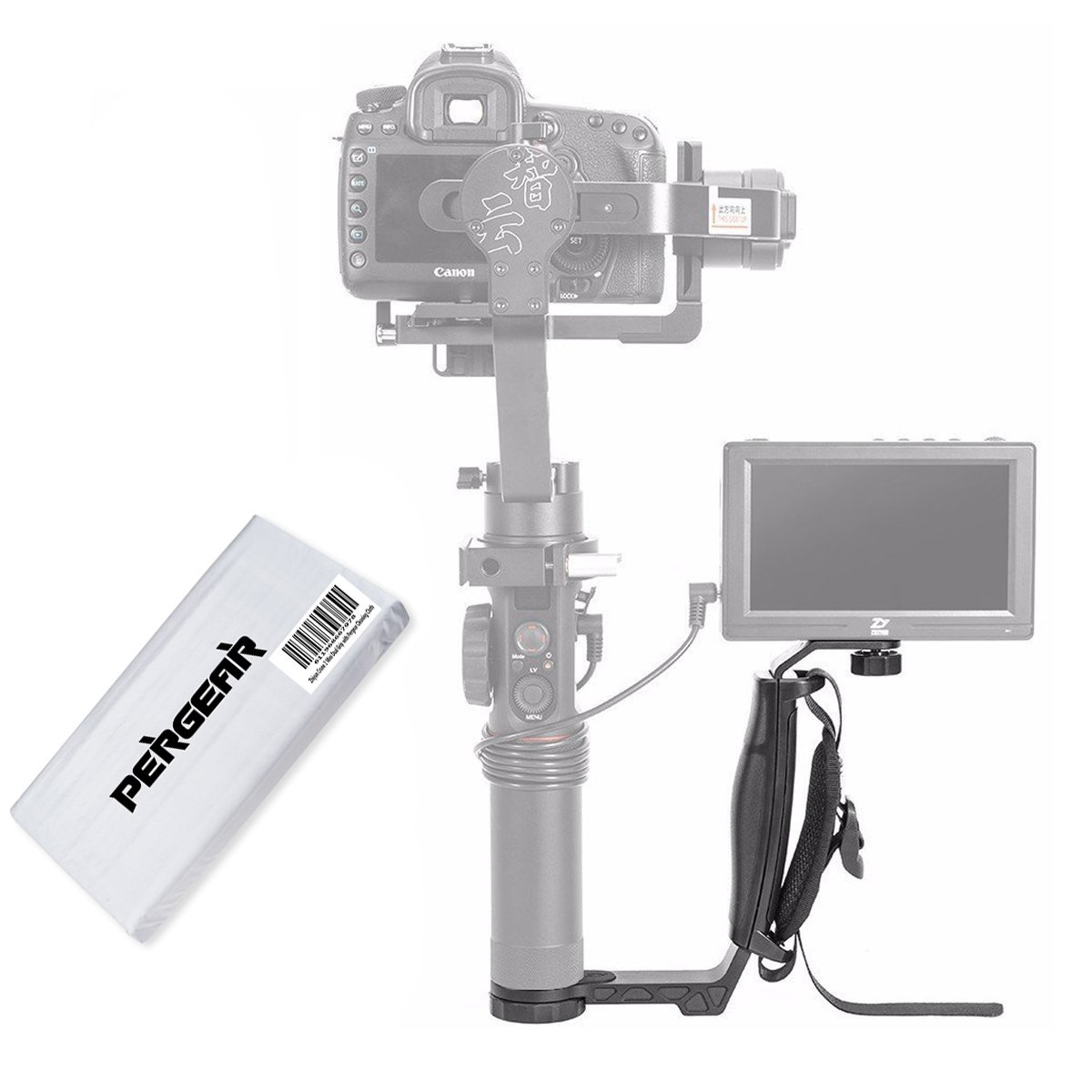 Zhiyun Crane 2 Mini Dual Grip with Three 1/4'' Screw Holes and Wrist Strap for Zhiyun Crane 2 Crane Plus Crane M and other Handheld Gimbal Which Has 1/4 Screw
