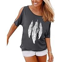GNRSPTY Mujer Casual Camiseta Manga Corta Sin Tirantes Verano Estampado de Plumas Suelto T-Shirt Tops