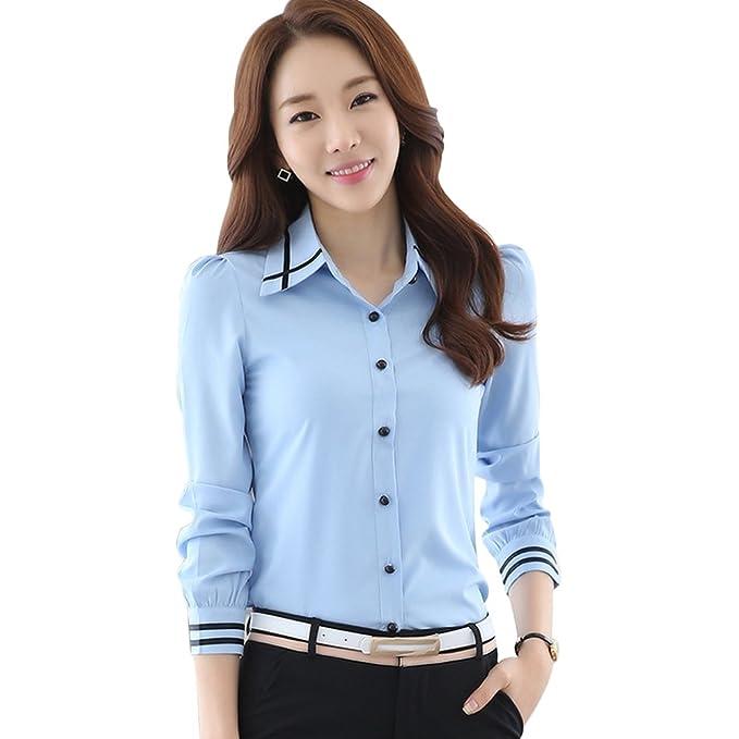 666c69a1262f98 Tidecc Women Office Shirt Chiffon Blouse Long Sleeve Button Down Tops Blouse  Work Wear Clothes UK 4-16: Amazon.co.uk: Clothing