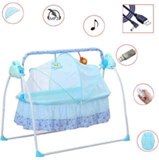 Yellow SANPIO Electric Cradle Baby Swing Bed Automatic Rocking Crib Basket Bassinet Newborn Rocker Infant cot