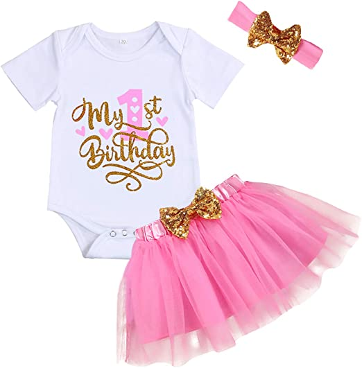US Toddler Baby Girls Birthday Dress Rompers Tutu Skirt Headband Outfit Clothes