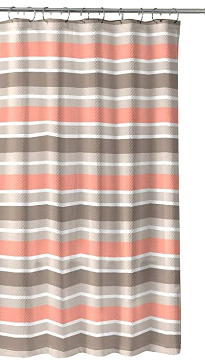 Brown Taupe Coral White Fabric Shower Curtain Striped Design