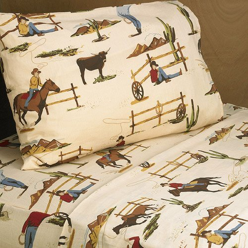 Kid Bedding Collection - Sweet Jojo Designs 3-Piece Twin Sheet Set for Wild West Cowboy Children's Bedding Collection