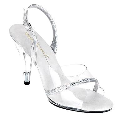 Summitfashions Womens Dressy Shoes 4 Inch Heels Slingback Strap Rhinestones Silver  Clear Size  5