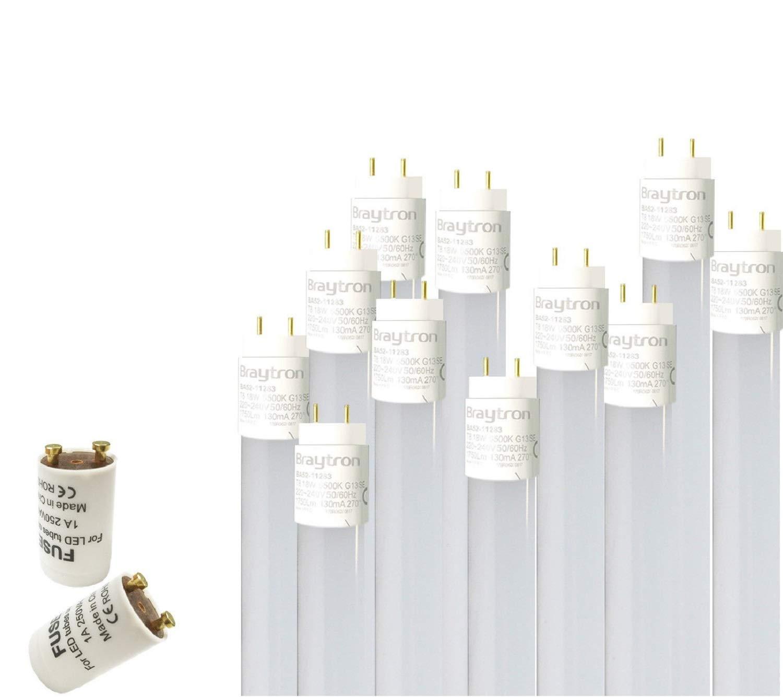 2 X 9 W LED tubo G13 T8 60 cm tubo fluorescente bianco caldo 3000 K 900 Lumen 270/° angolo di irradiazione//incl Confezione da 2 pezzi con coperchio bianco latte.