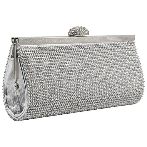 Bag Silver Covered Prom Wedding Box Handbag Fashion Crystal Silver Wiwsi Clutch Party Diamante CqT61AnUw