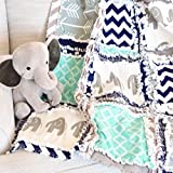 Elephant Blanket - Mint / Gray / Navy - QUILT Only