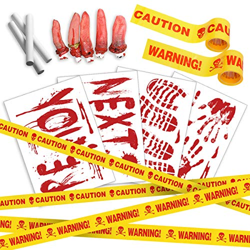 (Pawliss Halloween Crime Scene Party Decorations 14 Pack Kit, Haunted House Bloody Zombie Decor, Caution Tape, Body Silhouette, Bloody Handprints Footprints Wall Decals Window Décor)