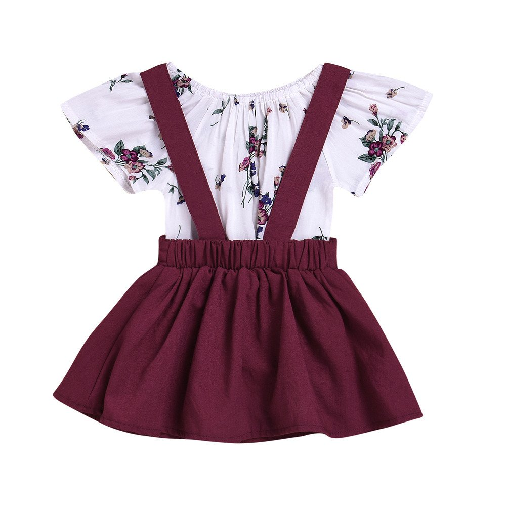 WUAI Baby Girls Dress 2 Piece Outfits Butterfly Short Sleeve Floral Rompers Strap Skirt Overall Outfits Clothes(Wine,12-18Months)