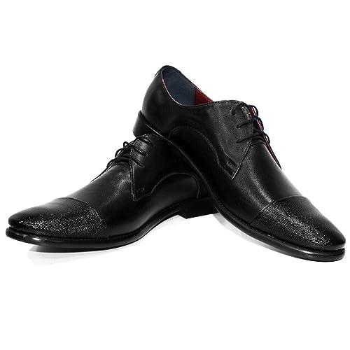 a1a53bb178d Modello Baraa - Cuero Italiano Hecho A Mano Hombre Piel Color Negro Zapatos  Vestir Oxfords - Cuero Charol - Encaje  Amazon.es  Zapatos y complementos