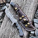 Cheap Buck n Bear Custom Handmade Damascus Tanto Tracker Fixed Blade Knife (Black/Yellow G10 Handle)