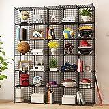 KOUSI Wire Storage Cubes Modular Shelving Unit Metal Bookcase Cabinet Closet Organizer System, Black, 30 Grids