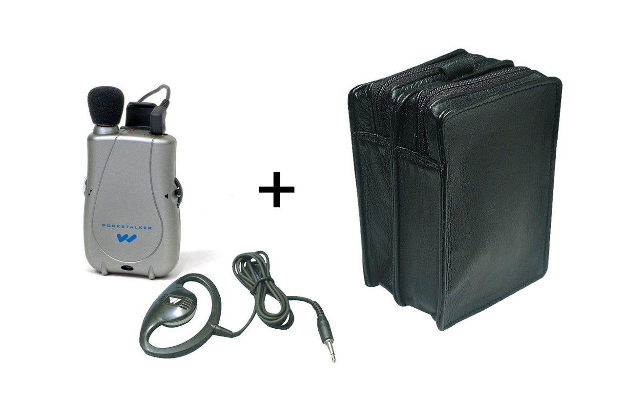 Pocketalker Ultra w-Surround Earphone + Leather Case - MaxiAids Bundle