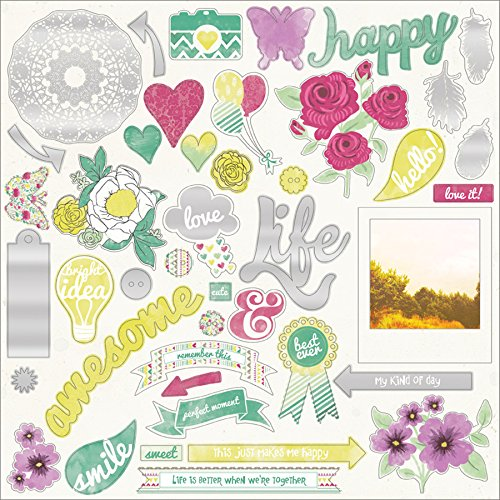e Sherbet Chipboard Elements, 12-Inch by 12-Inch, Peace ()