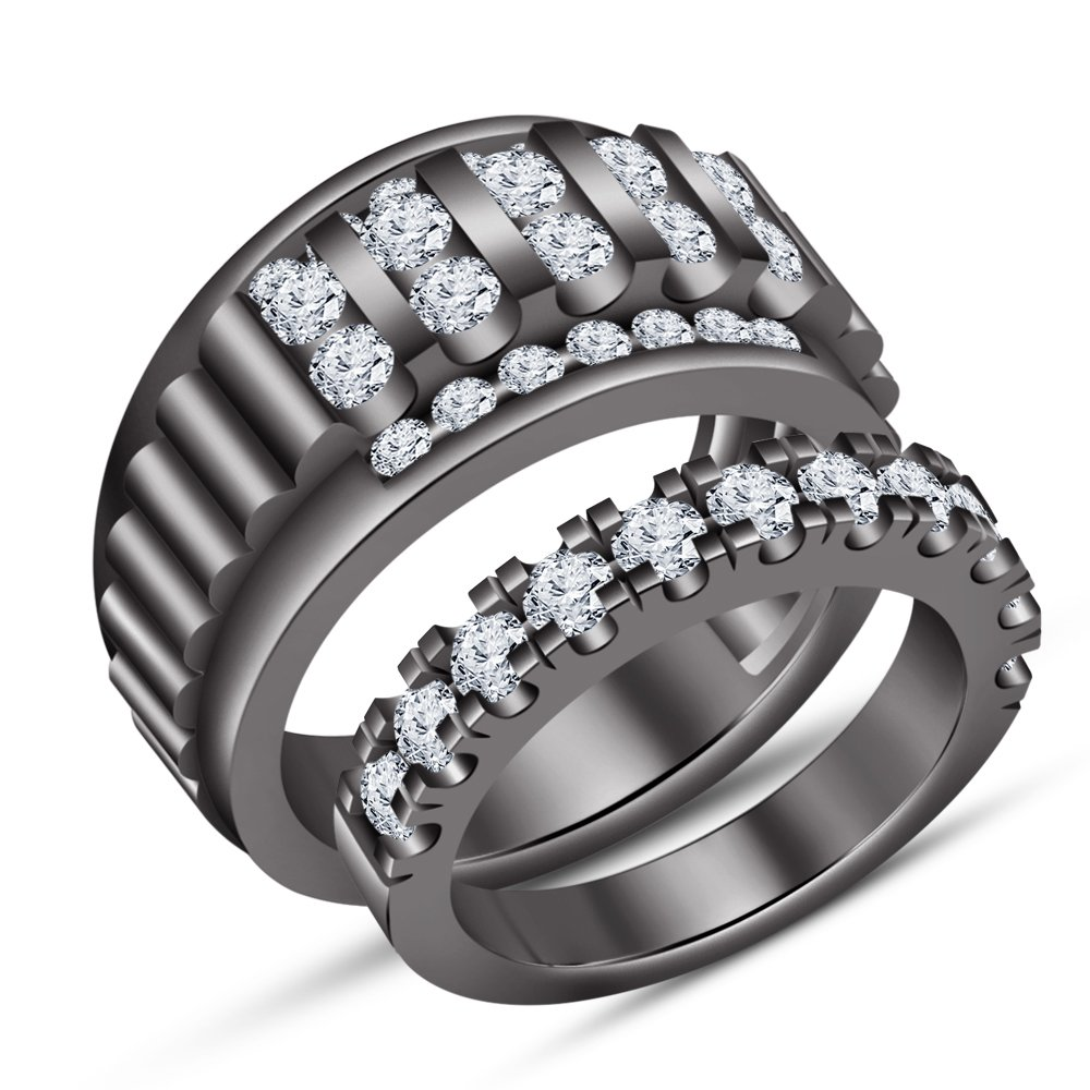 TVS-JEWELS Forever Love Couple Channel Setting White CZ Black Rhodium Plated Sterling Silver Ring Set