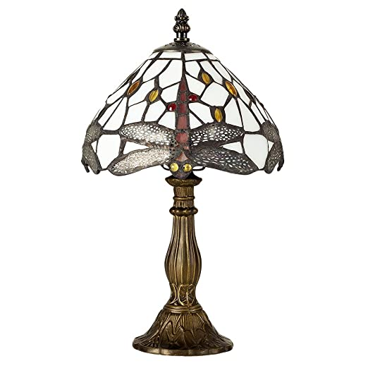 Tiffany style antique brassed effect base green and white stained glass and jewelled dragonfly design