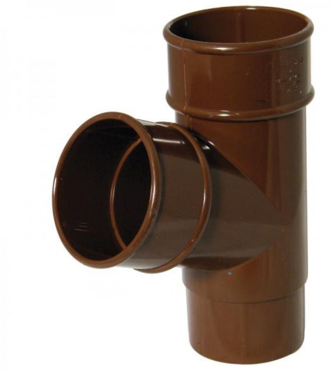 FLOPLAST 68mm Round 67 Degree Downpipe Branch - Brown