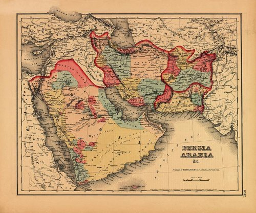 Antiguos Maps - Middle East Including Persia & Arabia Map Circa 1855 - Measures 20 in x 24 in (508 mm x 610 mm) (Yemen Map)