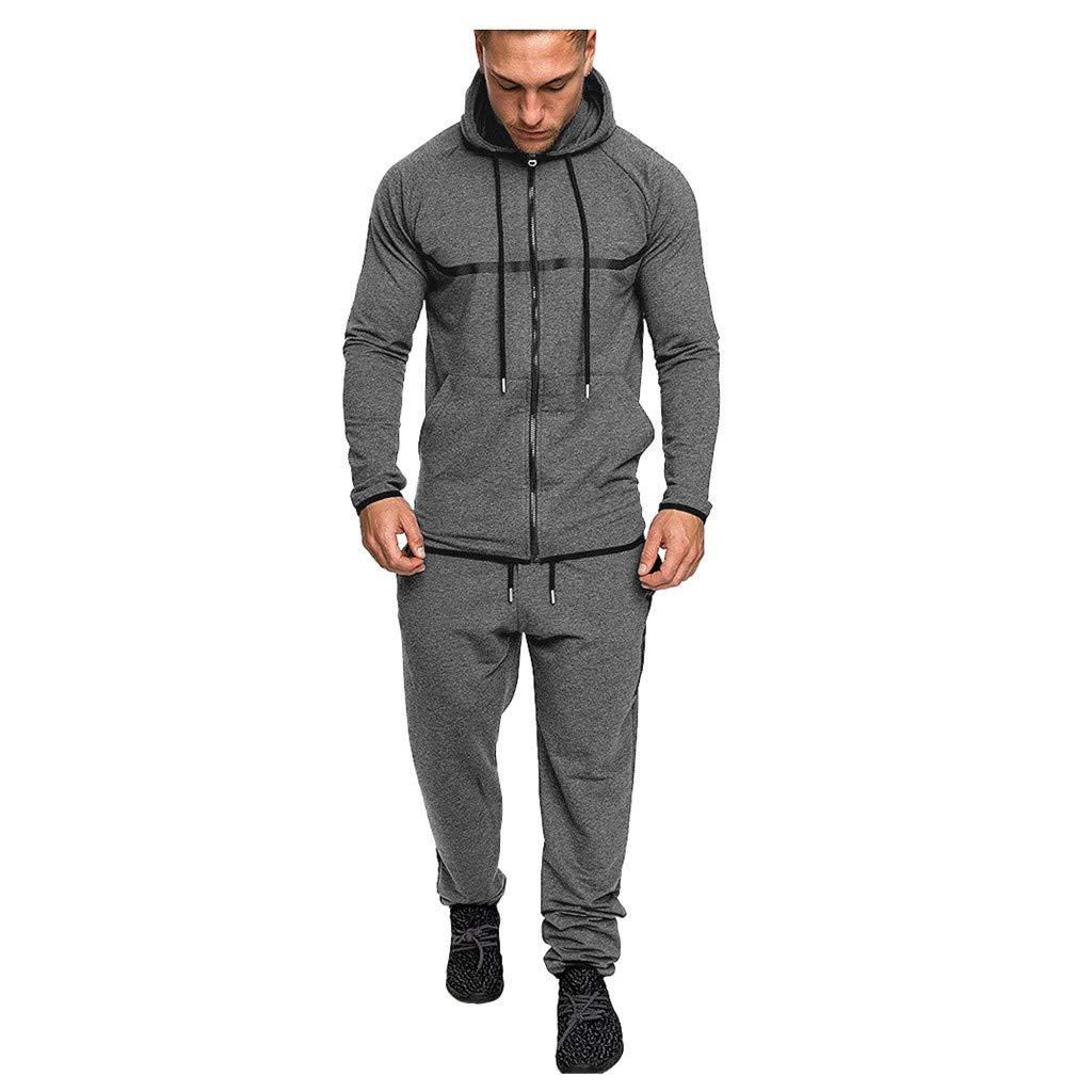 Men's Athletic Tracksuit Set Casual Full-Zip Jogging Hooded Sweatsuits Jacket & Activewear Pants Sports Suit(Drak Gray,Medium) by WUAI-Men