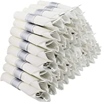 Spec101 Pre-Rolled Plastic Cutlery Bulk Pack - 60 Count Silver Silverware Disposable Utensil Set with Napkins