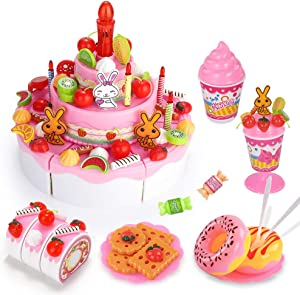Temi Pretend Play Food, DIY 105 PCS Cutting Birthday Party Cake Toys Set w/ Candles Fruit Dessert, Early Educational Kitchen Toy for Kids, Children, Toddlers, Boys & Girls, Aged 3 4 5 Year Old