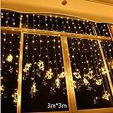 JIN Decorative Window Room Decorations 3 3 LED Lantern Stars Sky Curtain Lights