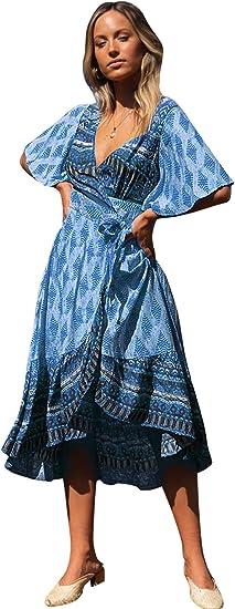 Aliling Womens Summer Spaghetti Strap Bohemian Floral Ruffle Flowy Swing Party Midi Dress with Belt