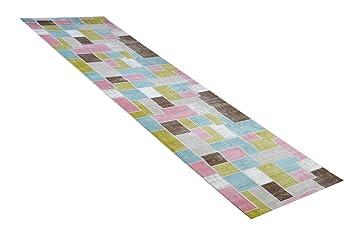 Läufer 80x300 teppich läufer patch pastell in 80 x 300 cm amazon de küche haushalt