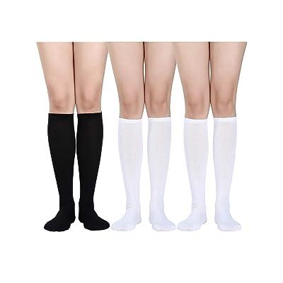 3 Pares de Calcetines Hasta la Rodilla para Mujer Calcetines de Algodón Suave Calcetines Largos de Tubo para Favor de Halloween, Uso Diario (Blanco, Negro): Ropa y accesorios