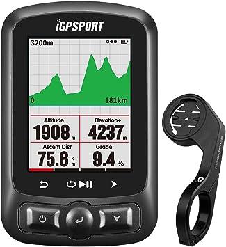 Igpport IGS618 - Ordenador de bicicleta, pantalla de 2,2 pulgadas, GPS, velocímetros, impermeable, para interior y exterior, soporte de ordenador, monitor de ritmo cardíaco, velocidad de la vela, color negro: Amazon.es: Deportes