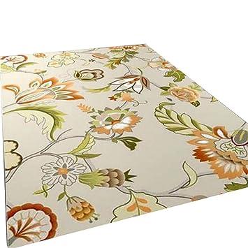 Alfombras modernas alfombras alfombrillas Alfombrillas Alfombras Blanco claro Material esponjoso naranja Flores rectangulares de alta densidad de corte ...